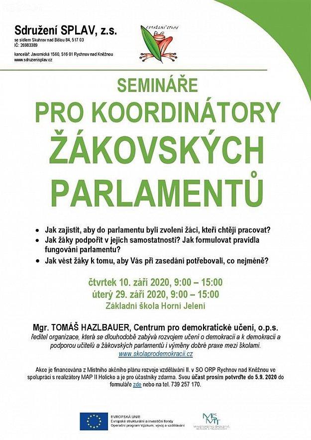 Semináře pro koordinátory žákovských parlamentů