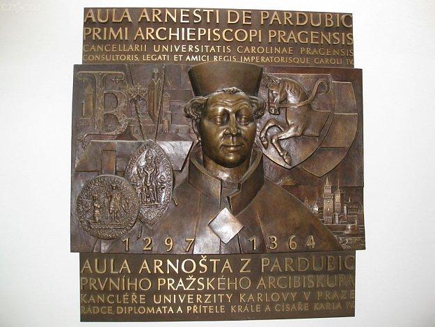 Arnošt of Pardubice - Bronze relief
